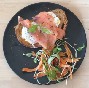 Poached Eggs sandwich with Salmon